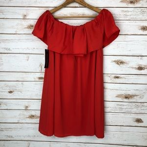 French Connection Red Off Shoulder Popover Dress